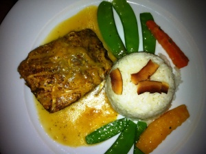 Mahi Mahi in an orange citrus sauce with coconut rice